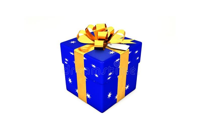 иллюстрация 3d: Яркая синяя подарочная коробка с звездой, золотой лентой металла/смычком и биркой на белой изолированной предпосы иллюстрация вектора