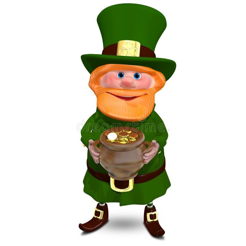 иллюстрация 3D St. Patrick с горшком с золотом иллюстрация вектора