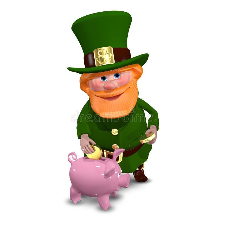 иллюстрация 3D St. Patrick с копилкой иллюстрация вектора