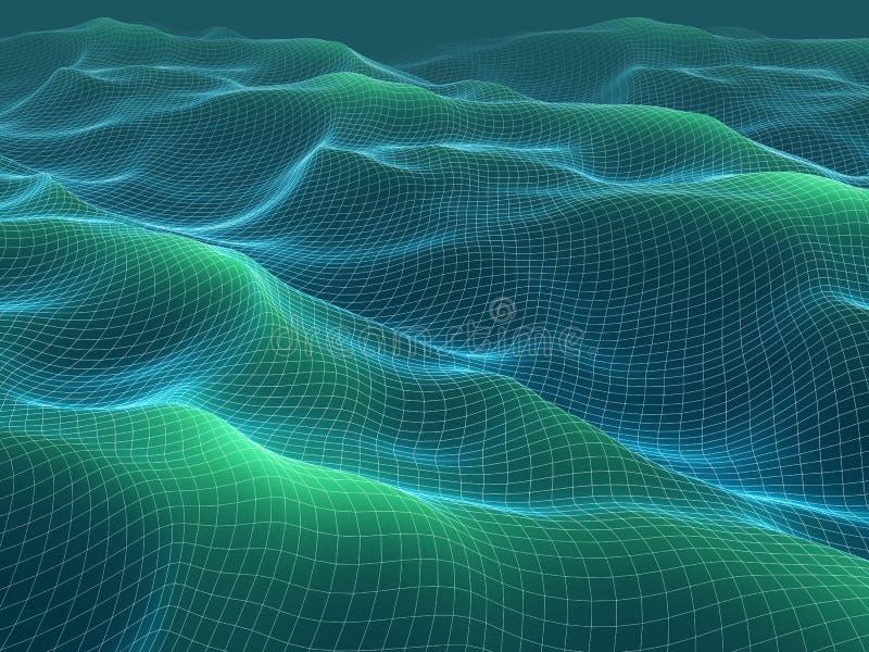 иллюстрация 3d wireframe развевает сетка абстрактный ландшафт бесплатная иллюстрация