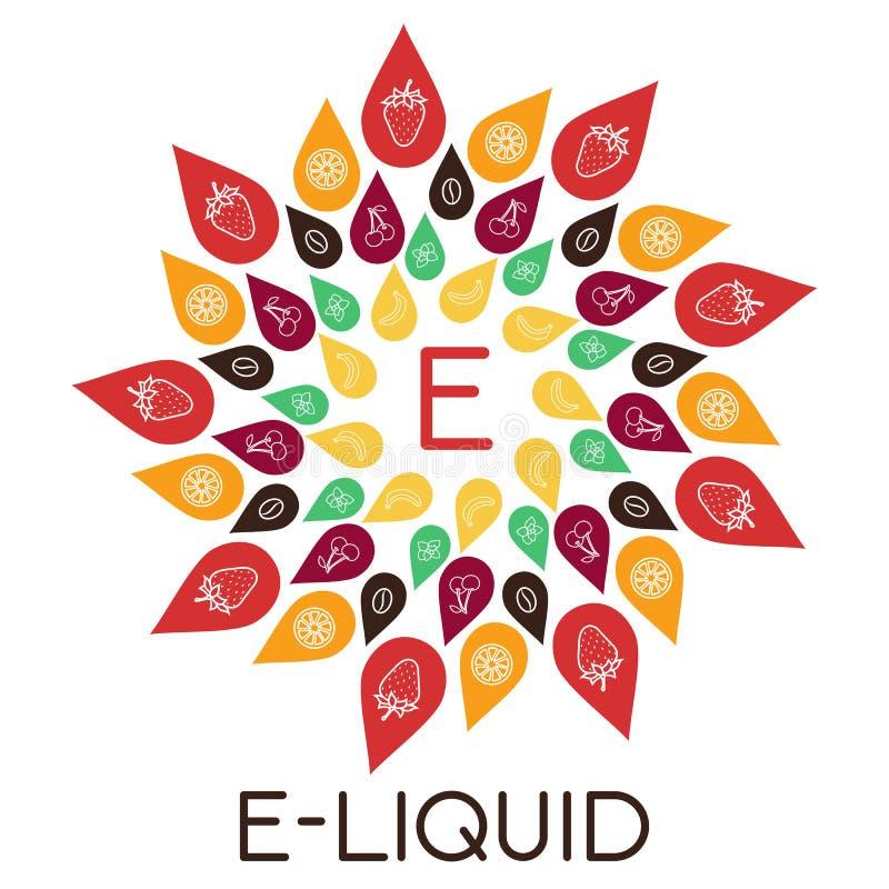 Иллюстрация E-жидкости вектора различного вкуса Жидкость к vape бесплатная иллюстрация