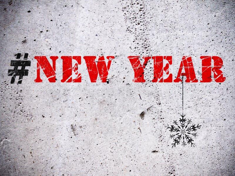 Иллюстрация hashtag Нового Года иллюстрация вектора