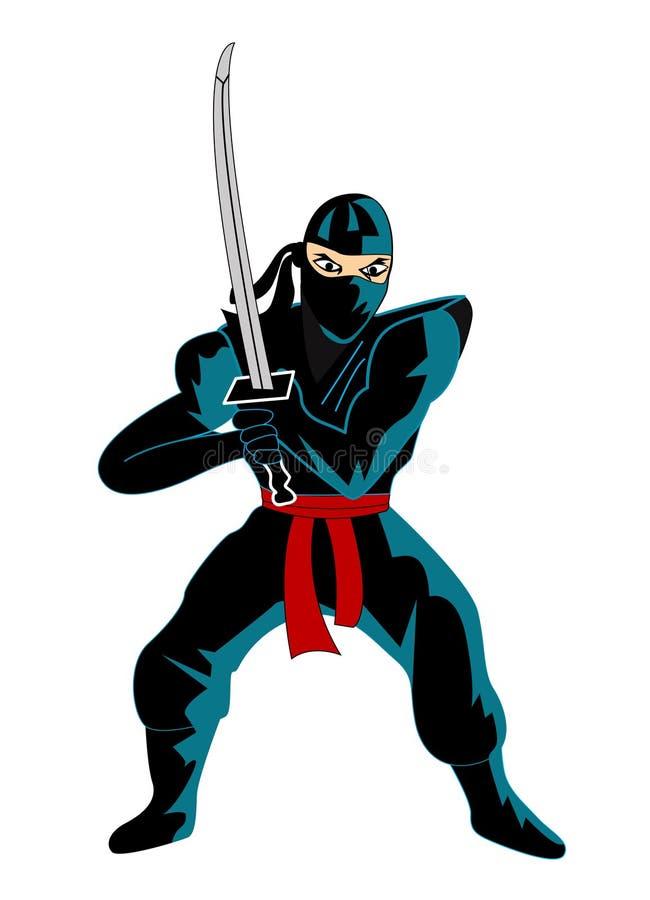Иллюстрация ninja над белизной иллюстрация вектора