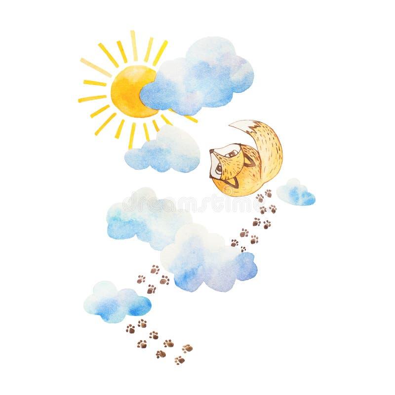 Иллюстрация Watercolour Fox наблюдая к небу Облака и s иллюстрация штока