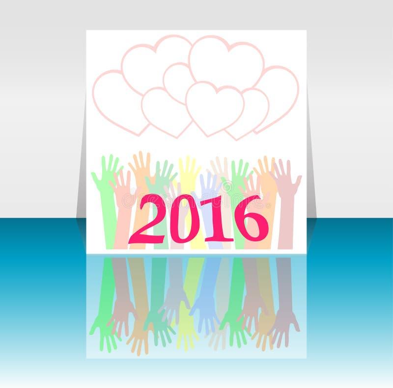2016 и люди вручают установленный символ Надпись 2016 в восточном стиле на абстрактной предпосылке иллюстрация вектора