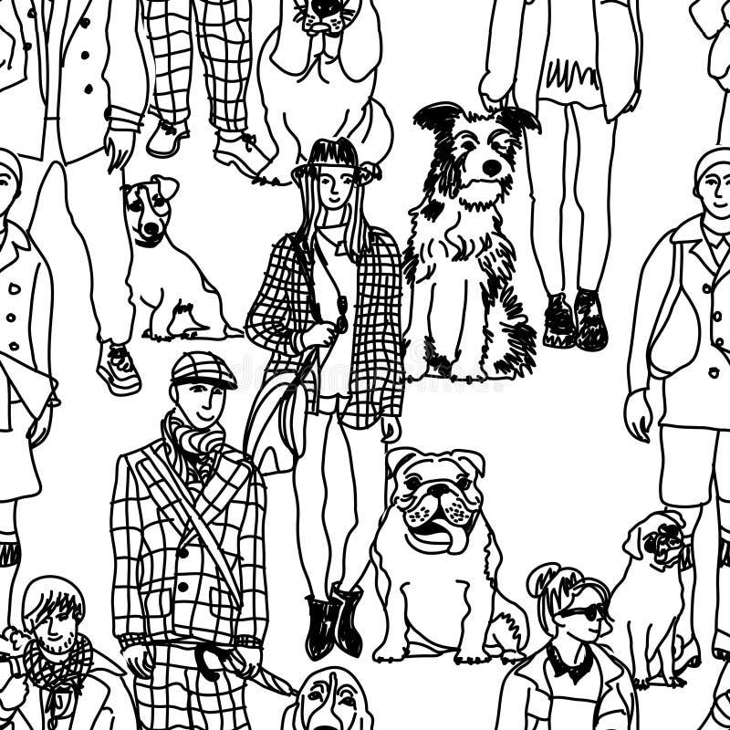 Идя картина людей и собак безшовная иллюстрация вектора