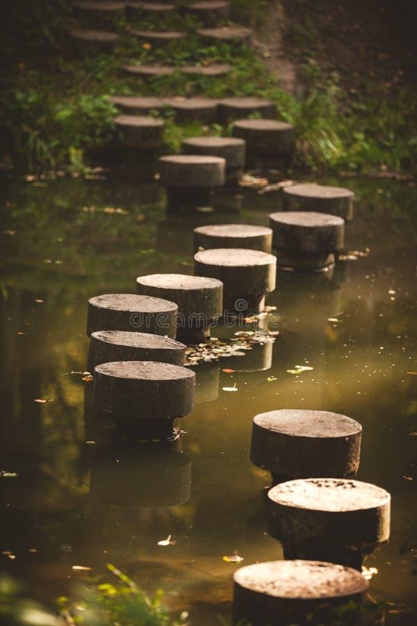 Идя дорога сделанная конкретных круглых камней в Drozdy паркует в Минске, Беларуси стоковое изображение