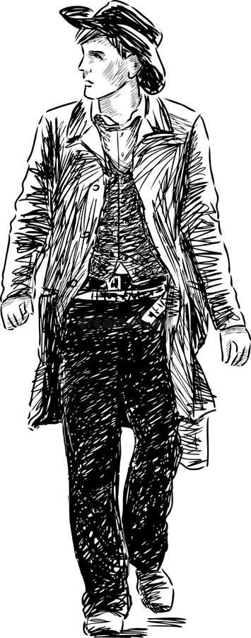 Идя человек в шляпе бесплатная иллюстрация