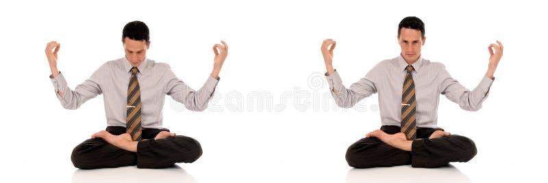 йога бизнесмена meditating стоковые изображения