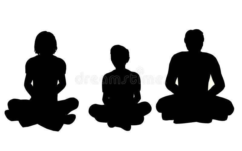 йога вектора семьи иллюстрация штока