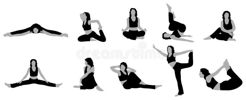 йога вектора 2 девушок иллюстрация штока