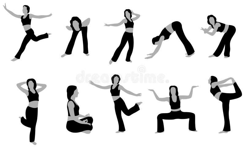 йога вектора 5 девушок иллюстрация вектора