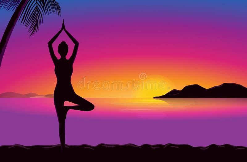 Йога в взморье на времени захода солнца иллюстрация вектора