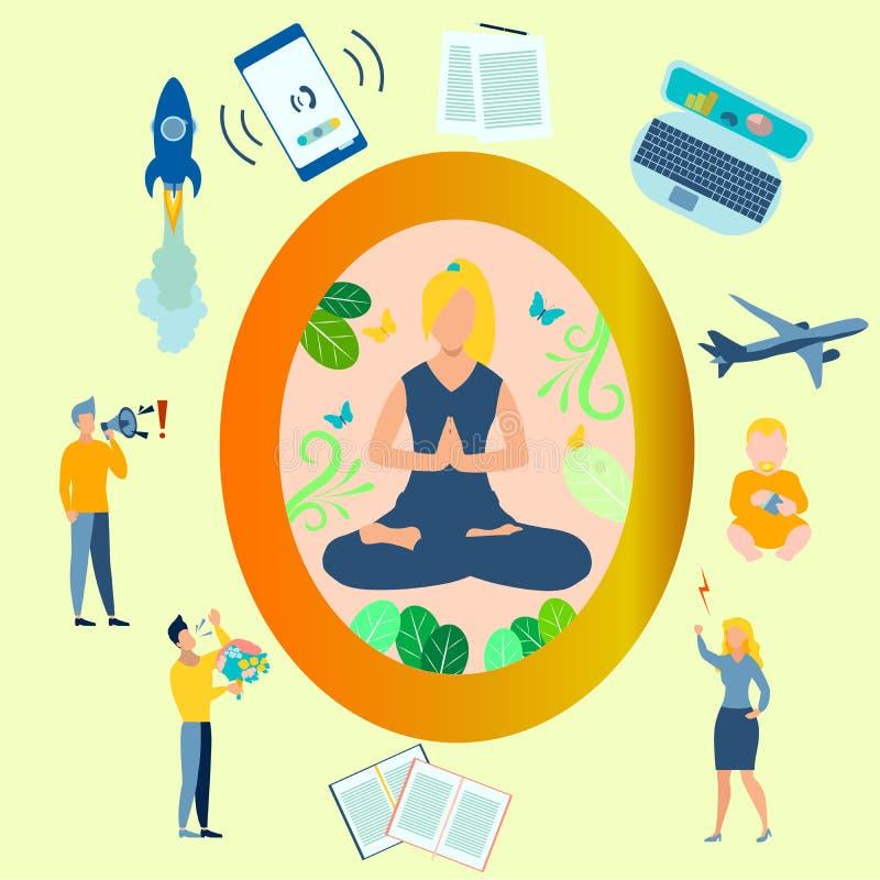 Йога, девушка в положении лотоса закрыта от проблем Все отвлечения ведены плоско В минималистском иллюстрация штока