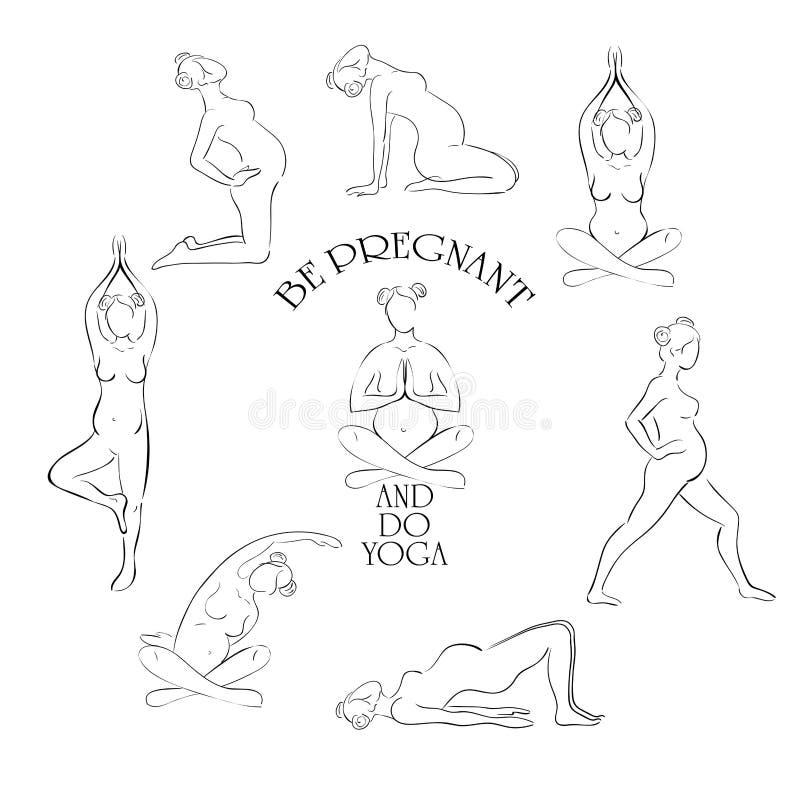 Йога для беременного комплекта вектора бесплатная иллюстрация
