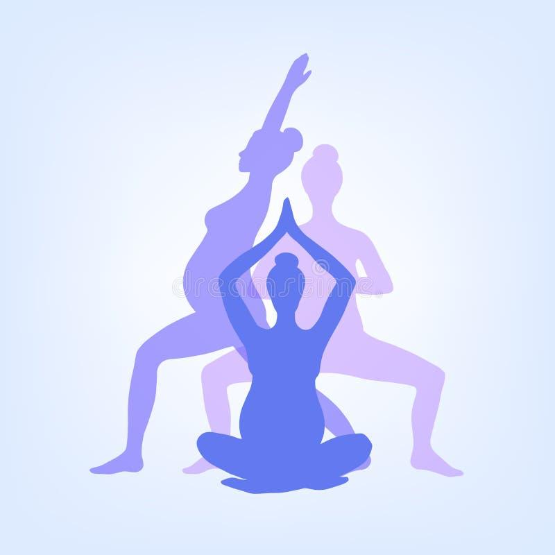 Йога для беременных женщин Комплект представлений йоги для беременных женщин Asanas для беременных женщин Силуэты вектора цвета  иллюстрация вектора