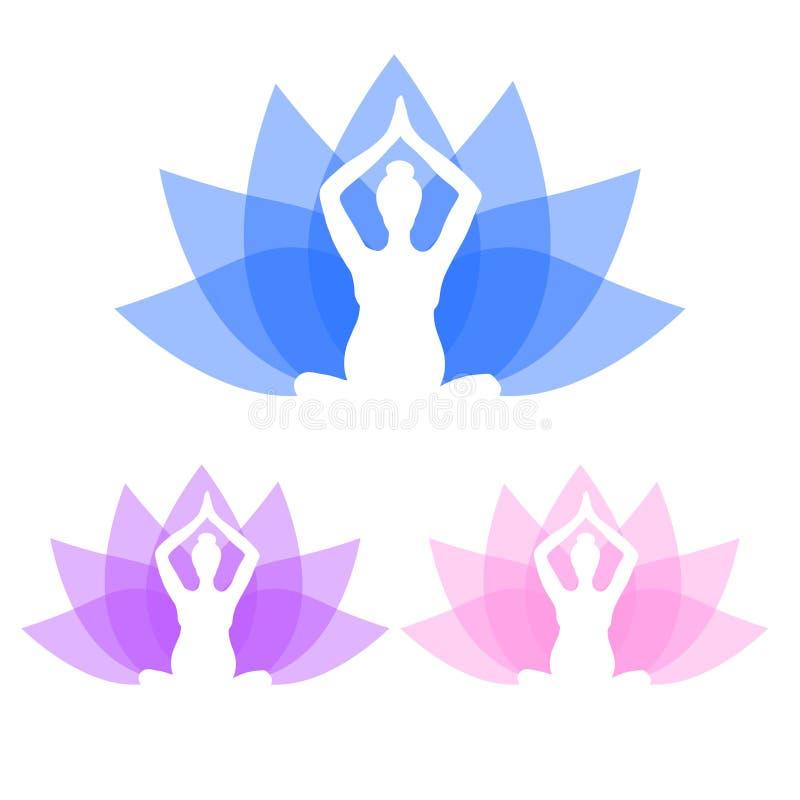 Йога для беременных женщин Комплект представлений йоги для беременных женщин Asanas для беременных женщин Силуэты вектора цвета  бесплатная иллюстрация