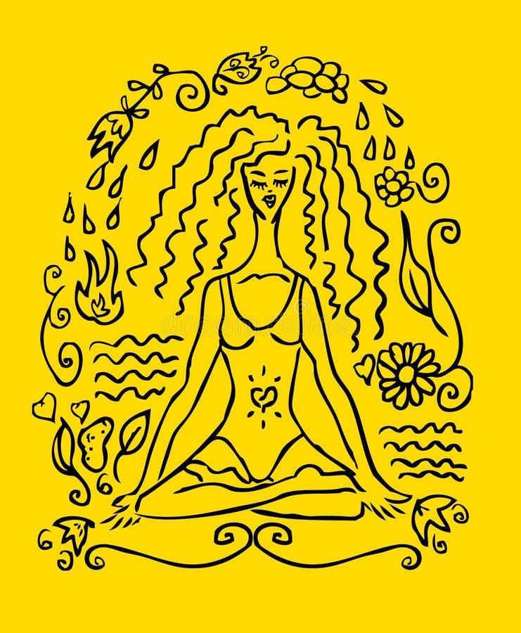 йога женщины tattoo карточки поддельная бесплатная иллюстрация
