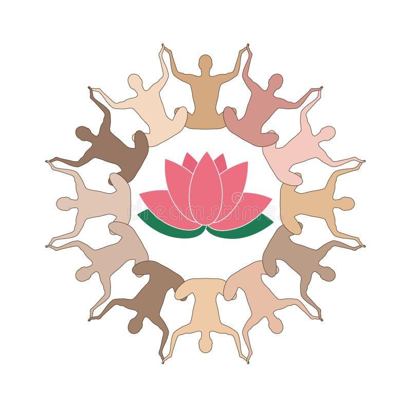 Йога и Дзэн - собрание лотоса логотипа бесплатная иллюстрация