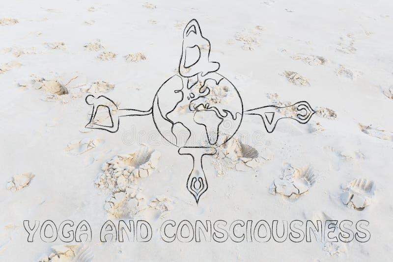 Йога и сознавание: yogis делая представления по всему миру стоковое фото