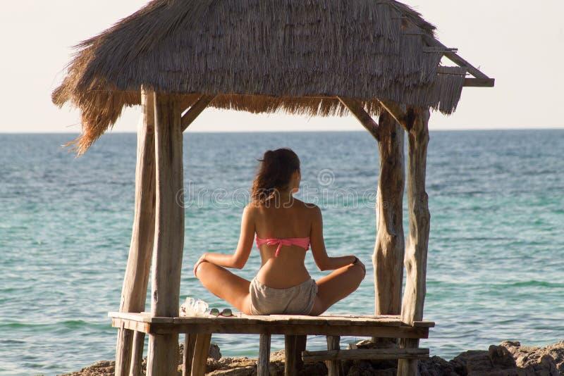 Йога красивой женщины задняя практикуя стоковое фото rf