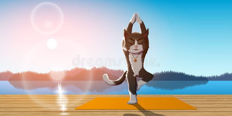 Йога практики кота иллюстрация штока