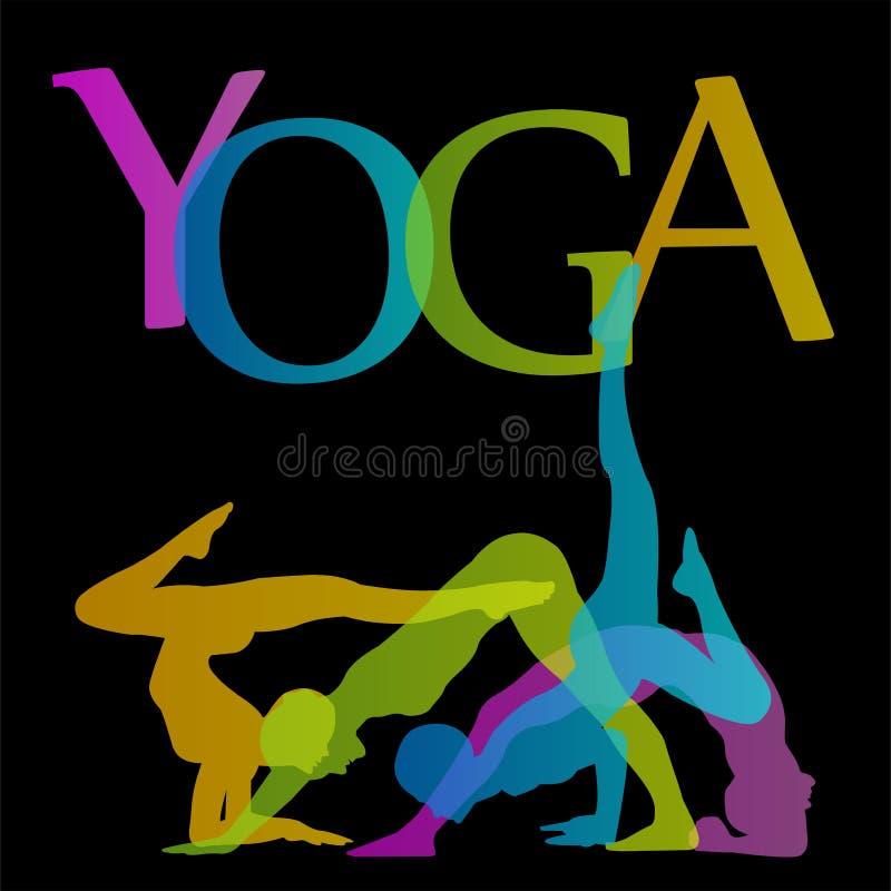 Йога представляет график с йогой представляет силуэт иллюстрация штока