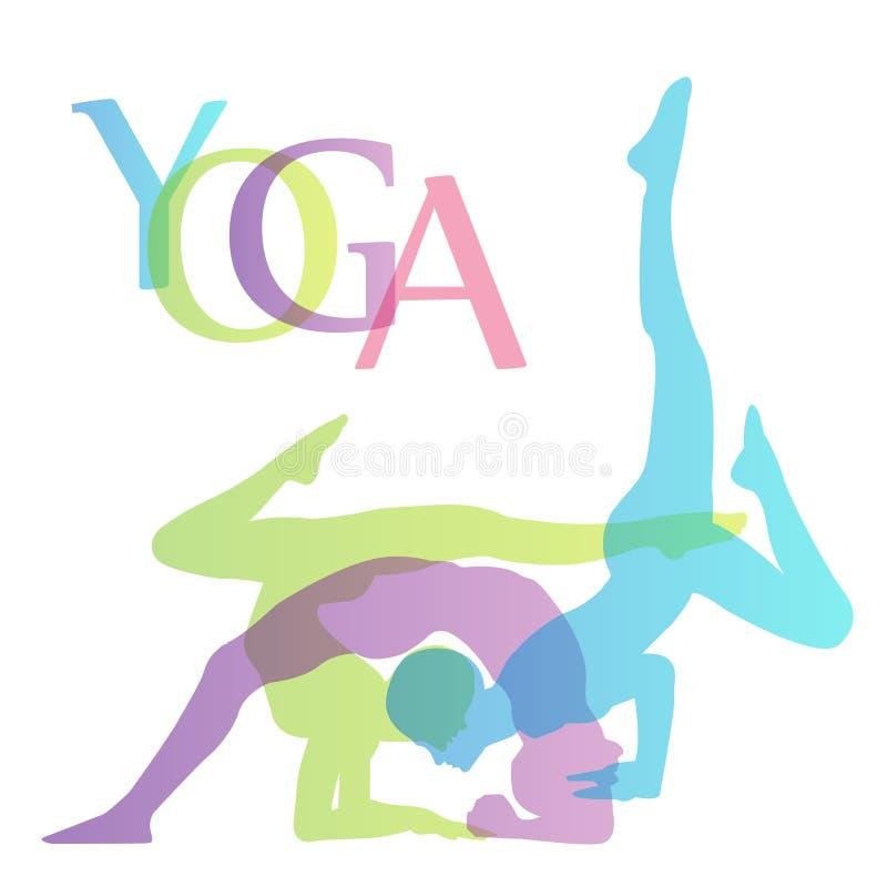 Йога представляет график с йогой представляет силуэт иллюстрация вектора