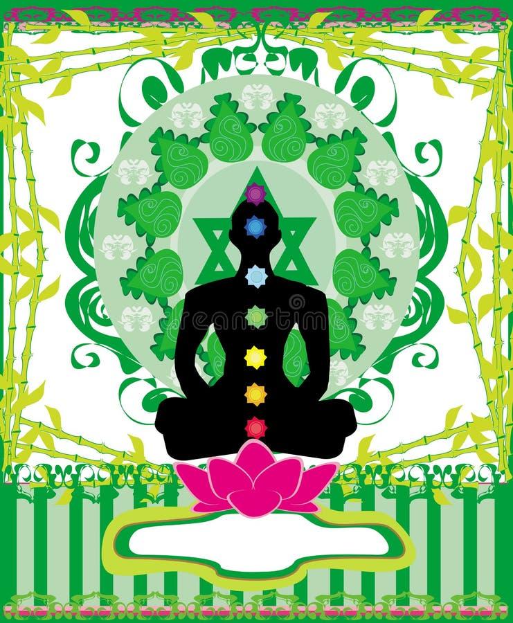 Download йога представления лотоса Padmasana с пунктами Chakra Иллюстрация вектора - иллюстрации насчитывающей green, график: 41654005