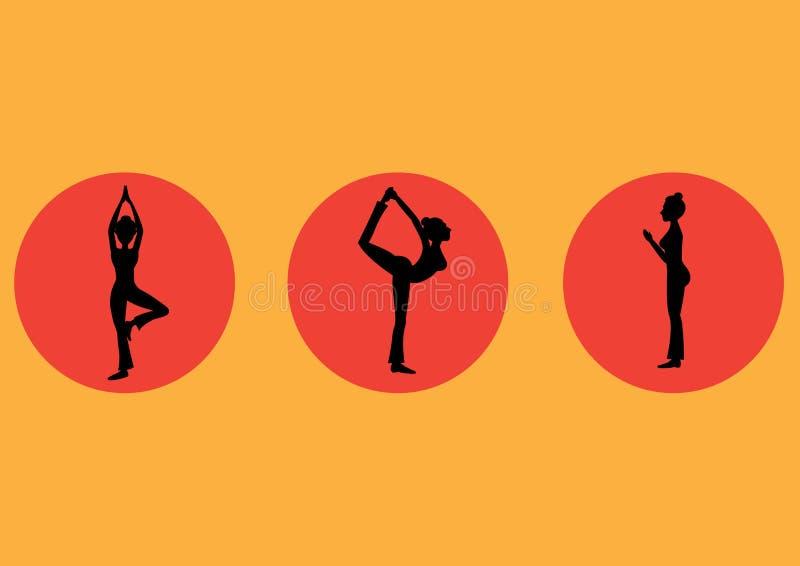 Йога представляет комплект значка, здоровый, иллюстрации вектора иллюстрация вектора