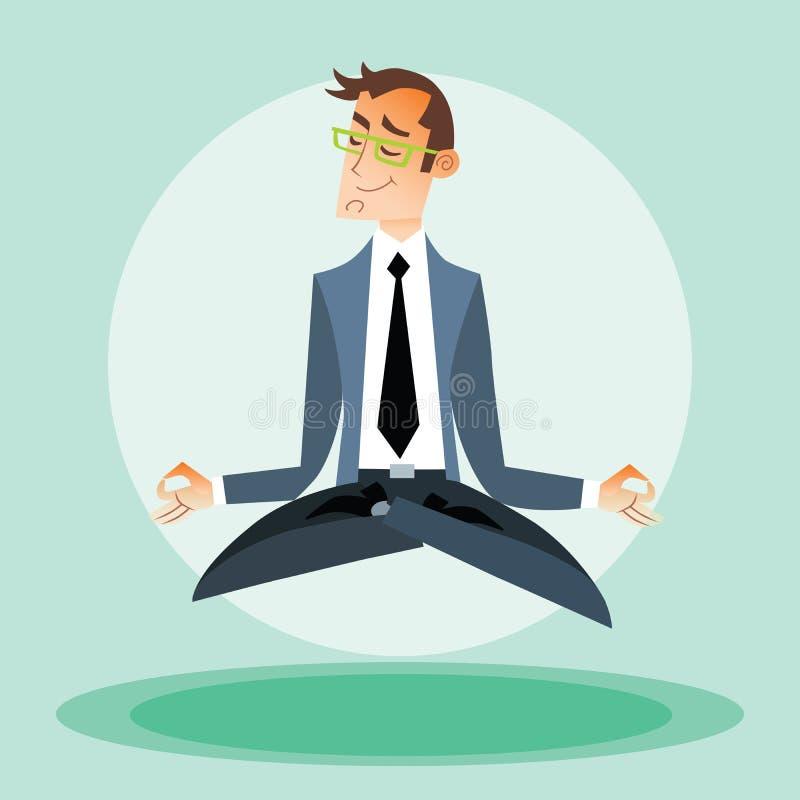 Йога приниманнсяая за бизнесменом бесплатная иллюстрация