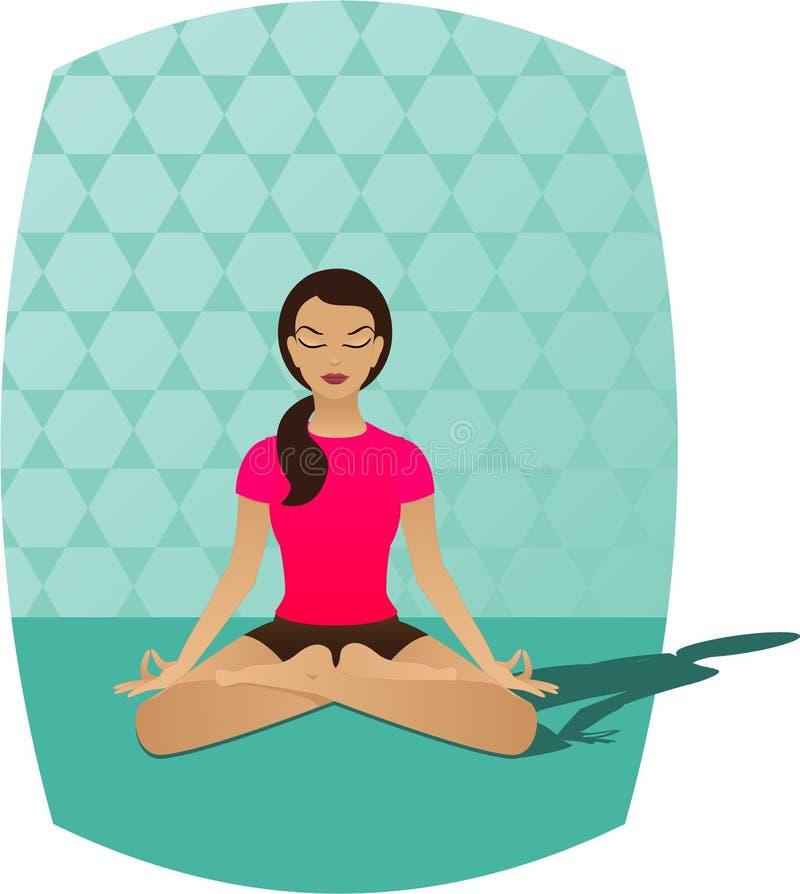 йога раздумья иллюстрация вектора