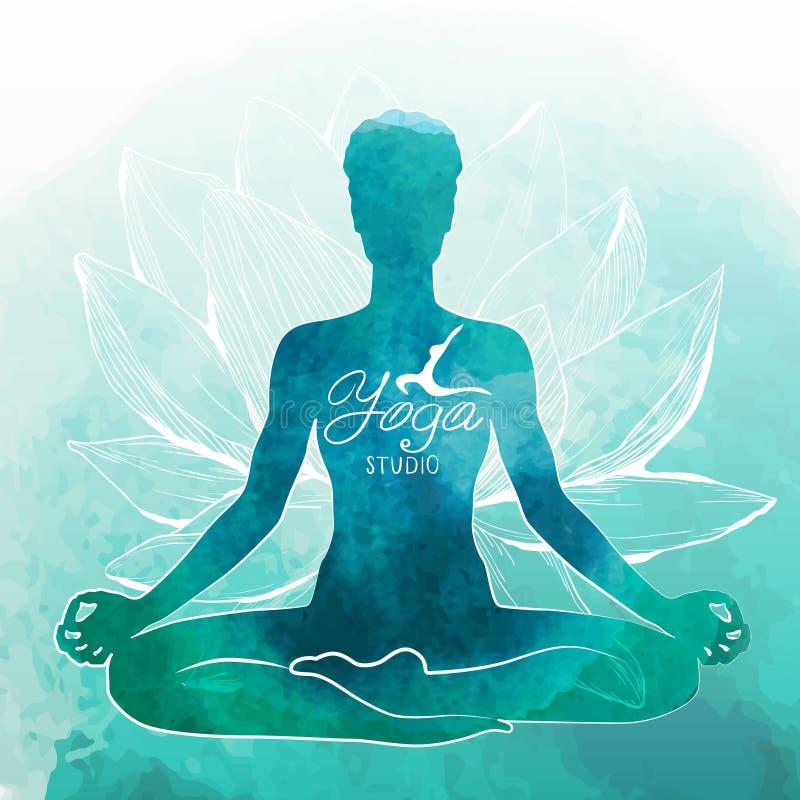 Йога, релаксация и раздумье желтый цвет акварели стародедовской предпосылки темный бумажный бесплатная иллюстрация