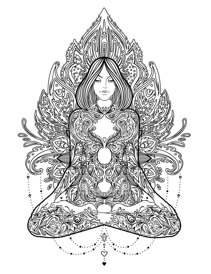 йога Силуэт женщины богато украшенный сидя в представлении лотоса над ornamen иллюстрация вектора