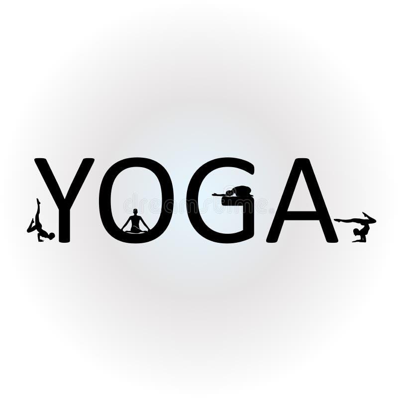 Йога текста с различными представлениями йоги иллюстрация вектора