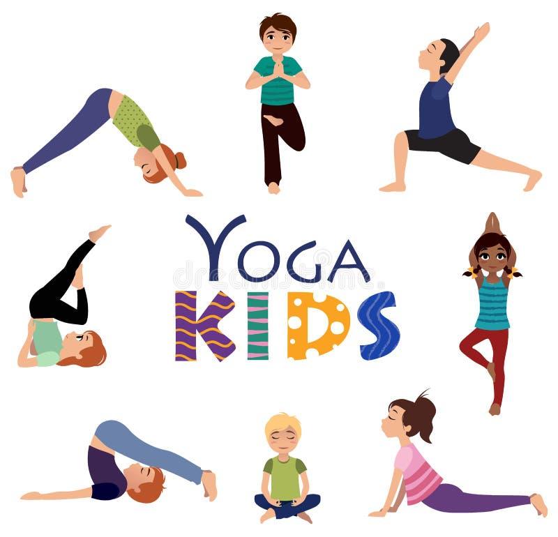 Йога для детей Установленные представления Asanas бесплатная иллюстрация