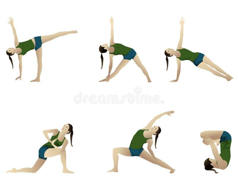 йога 6 серий положений иллюстрация штока