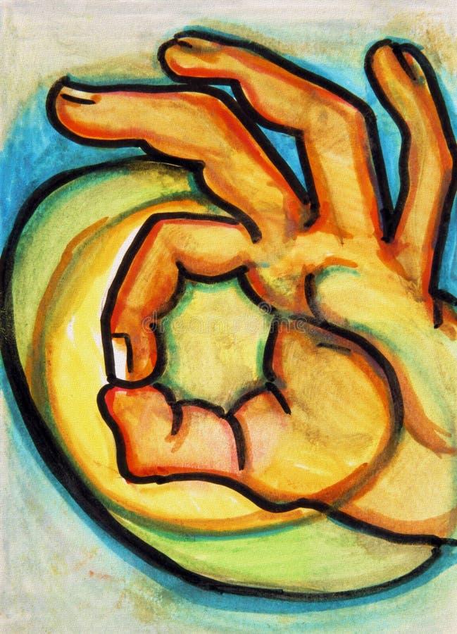 йога mudra руки жеста иллюстрация вектора