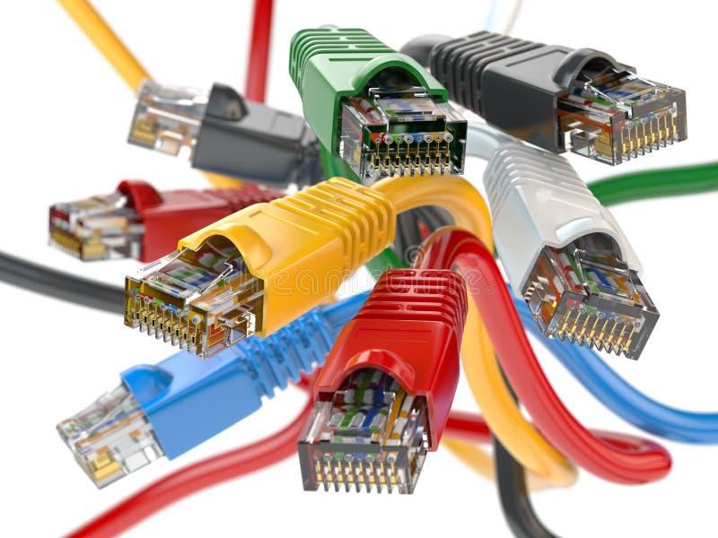 Кабели LAN rj45 компьютерной сети других цветов Imternet иллюстрация вектора