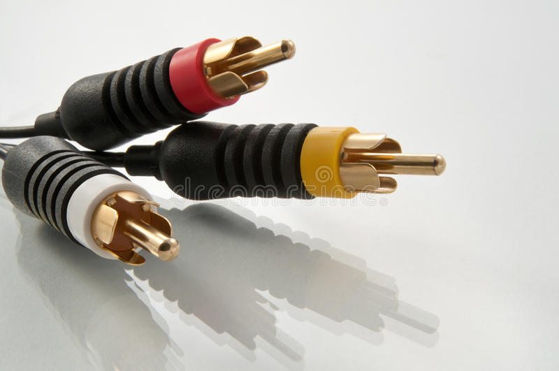 кабельные соединители av стоковое изображение rf