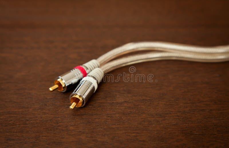 Кабель аудиопровода между компонентами с кабелем RCA Male Plug стоковые фотографии rf