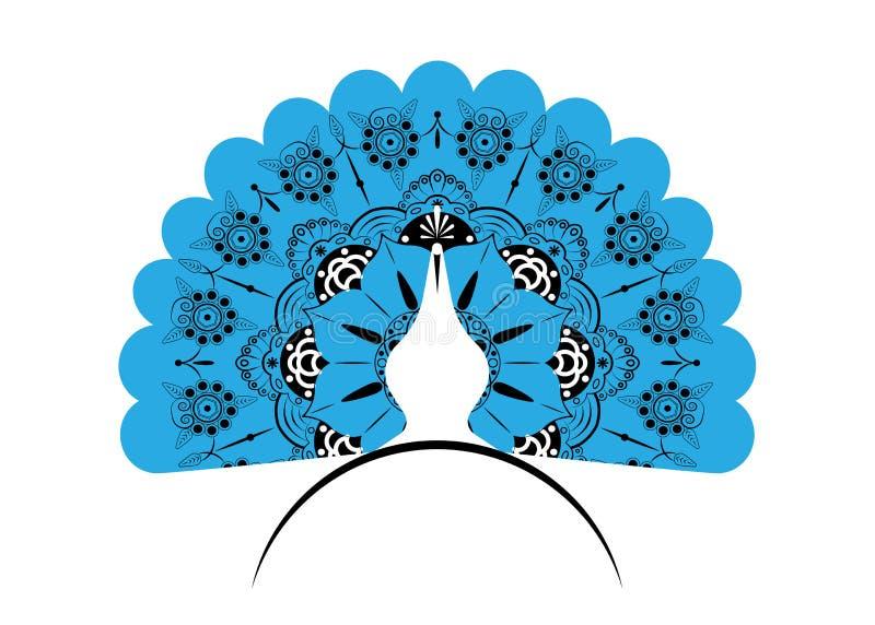 Кабель силуэта значка павлина украсил мандалу Стиль шаблона вектора дизайна логотипа линейный Ярлык павлина птицы плана с luxurio иллюстрация штока