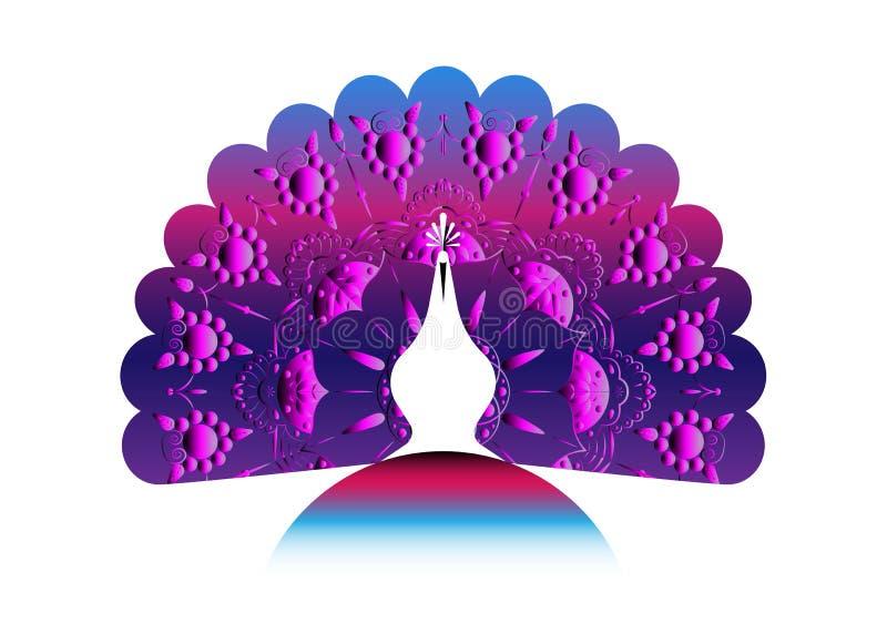 Кабель силуэта значка павлина украсил мандалу Стиль шаблона вектора дизайна логотипа линейный Ярлык павлина птицы плана с luxurio иллюстрация вектора