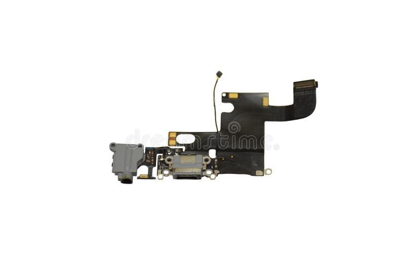 Кабель Flex порта зарядки смартфона изолирован на белом фоне стоковые изображения rf