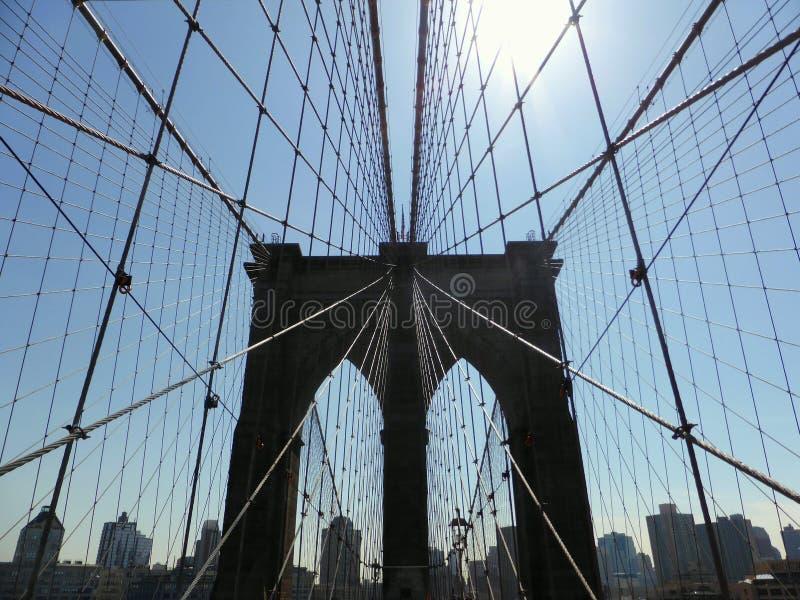 Кабели Бруклинского моста стоковые фотографии rf