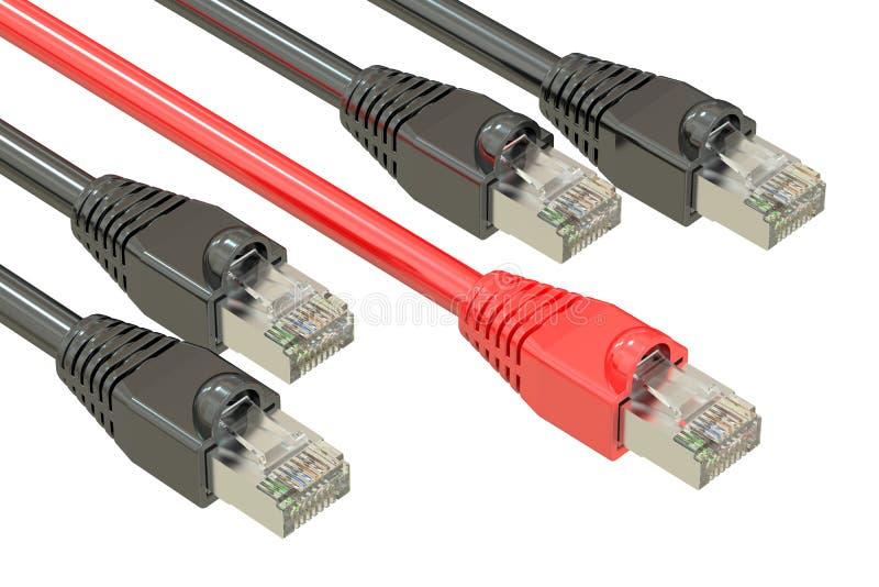 Кабели компьютерной сети, концепция скорости интернета перевод 3d иллюстрация вектора