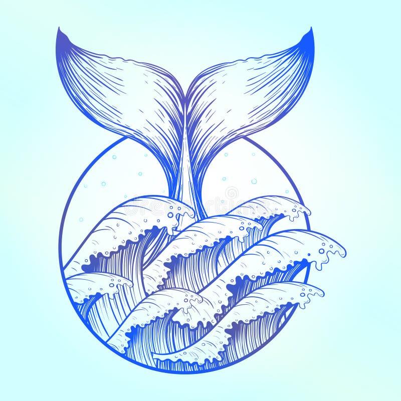 Кабель кита в голубом море развевает, татуировка boho иллюстрация штока