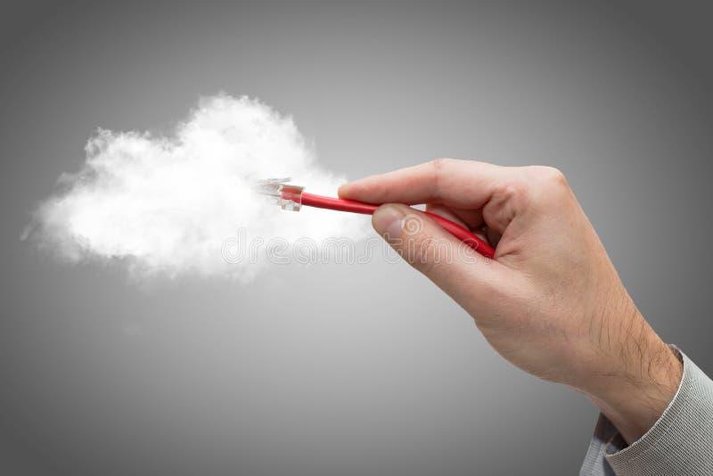 Кабель ethernet облака вычисляя соединяясь. стоковые изображения