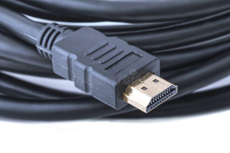 Кабель HDMI для любых HDTV, системы домашнего кинотеатра, консоли видеоигры, или игрока Blu-ray стоковые фото