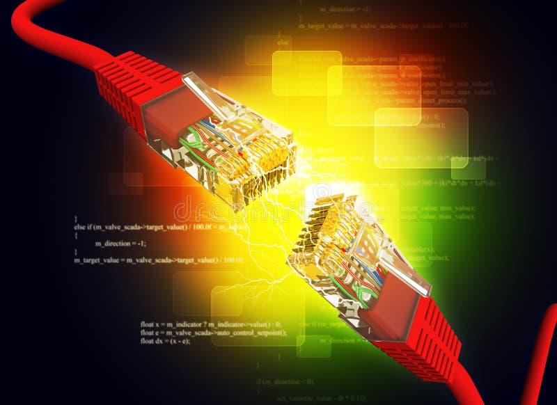 2 кабеля компьютера иллюстрация вектора